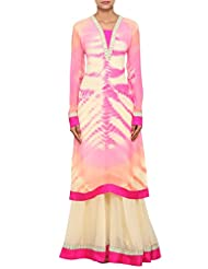 Kalki Fashion Multi Coloured Straight Fit Suit Featured In Chiffon, Embellished With Thread Work Only On Kalki...