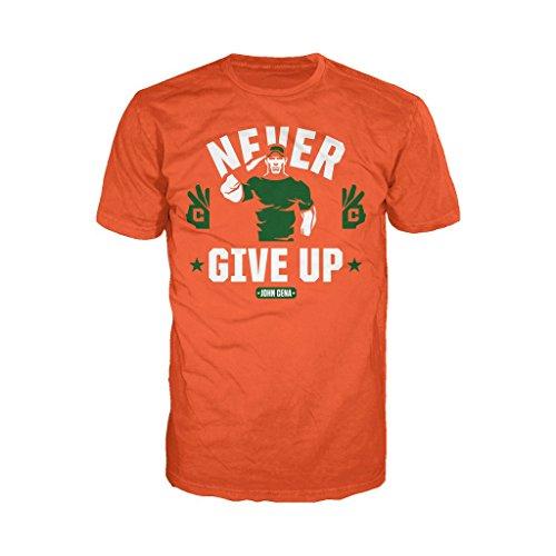 WWE John Cena Never Give Up Face Ufficiale Maglietta per uomo (Arancione) arancione XXL