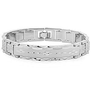Mens Rhodium Plated Classic Link ID Bracelet