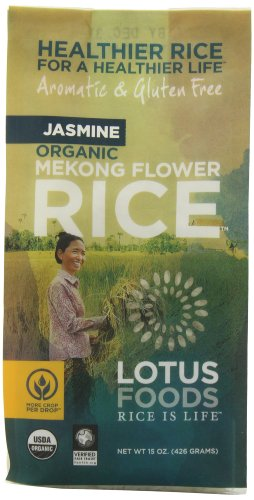 Lotus Foods Organic Jasmine Rice - Mekong Flower, 15-Ounce (Pack of 6) - Packaging may vary (Jasmine White Rice Organic compare prices)