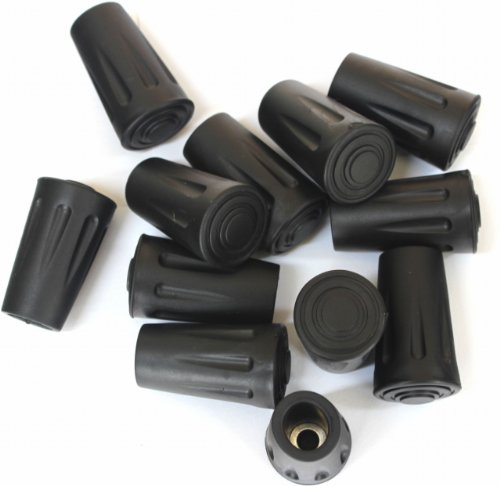 Columb Replacement Rubber Tip Protector Flex Walk Tip for Hammers Hiking Poles, 12 Pack (A Dozen)
