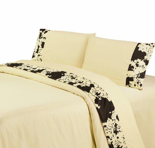 HiEnd Accents Printed Cowhide Sheet Set, Queen, Cream
