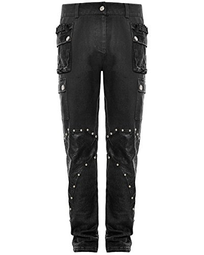 Punk Rave Uomo DieselPunk Pantaloni Jeans Nero Gotico Militare pantaloni Simil Pelle - cotone, Nero, \n97% cotone 97% cotone 3% elastan 3% spandex 3% spandex.\ncintura 97% cotone, Uomo, X-Large