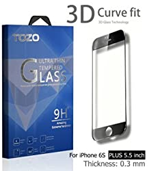 iPhone 6S Plus 3D Screen Protector Glass , TOZO Full Screen Frame Cover [3D Touch Compatible] Premium Tempered Glass 9H Hardness 2.5D Edge Silk Print Super Clear Perfect Fit Screen [ 5.5 inch ] Black