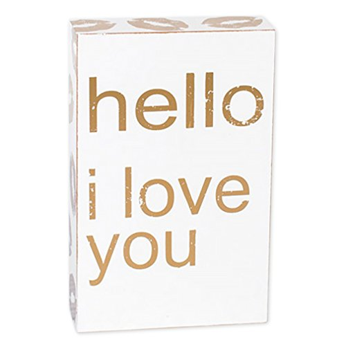 Kisses Hello I Love You White and Gold Tone 7 x 4.5 Wood Block Table Top Sign (Tabletop Love Sign compare prices)