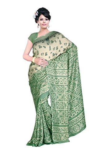 Ambaji Beige & Light green Jute silk Printed Saree Sari Sarees