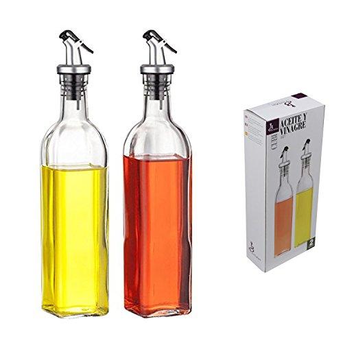 2-piece 500ml Glass Olive Oil Vinegar Cruet Dispenser Bottles 17oz (Vinegar Dispensing Bottle compare prices)