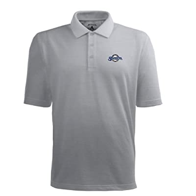 MLB Men's Milwaukee Brewers Pique Xtra Lite Desert Dry Polo