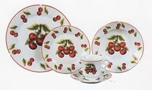 CHERRY 20pc Dinner Dish Set Dishes Dinnerware NEW
