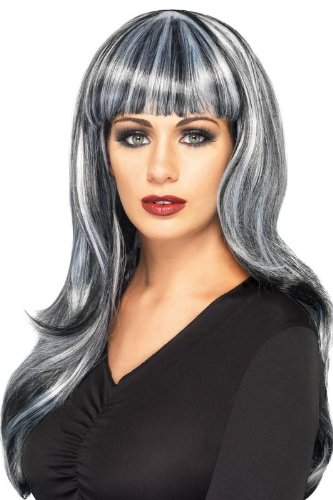 Smiffy's Sinister Siren Wig, White/Black, One Size