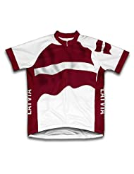 Latvia Flag Short Sleeve Cycling Jersey for Women
