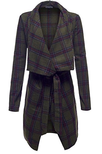 Wool Azetec Tribal Print Waterfall Open Front Coats (British Plaid Coat compare prices)