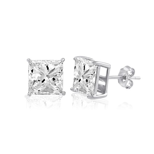 Sterling Silver Basket Set Square CZ Stud Earrings 12x12mm