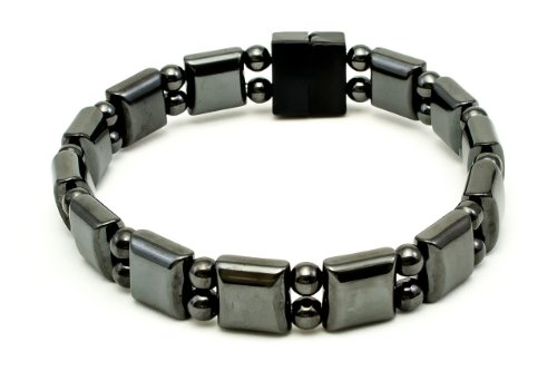 Black Magnetic Therapy Bracelet - Natural Magnetite Magnets (Large 7.75 In)