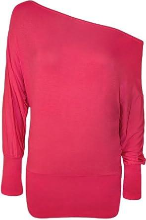 WearAll Women's Off-Shoulder Batwing Top - Cerise - US 4-6 (UK 8-10)