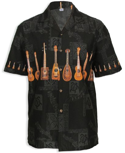 Ukulele Island Dream Hawaiian Shirt, Black, 3Xl