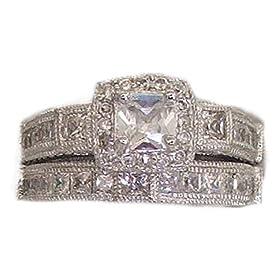 ring white cubic zirconia classic large cushion stone jewelry 6 7 8 9 10 NWT