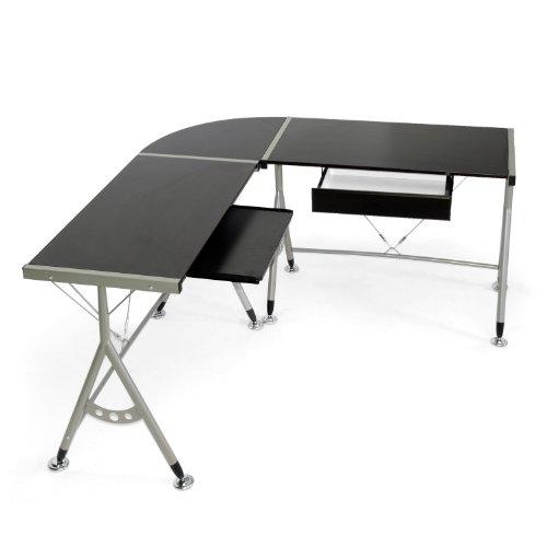 Baxton Studio Elburn L Shaped Modern Computer Desk Dark