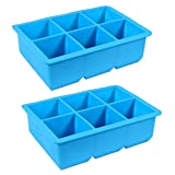 2 Pack - King Cube Ice Trays - 2-inch Squares - 6 Large Ice Cube Maker Per Tray, Extra Large Silicone Mold (2-PACK BLUE)