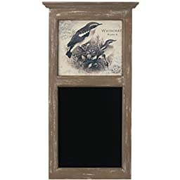 Framed Antique Whinchat Print with Chalkboard - 32-in Rustic Messageboard