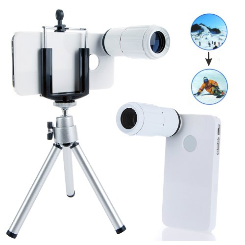 Docooler 8X Magnification Mobile Phone Telescope Magnifier Optical Camera Lens With Tripod + Holder + Case For Iphone 4 4S (White)