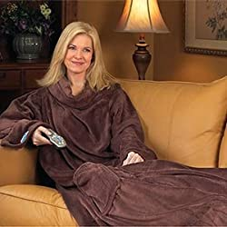 Micro Plush Snuggie Blanket, Chocolate Brown