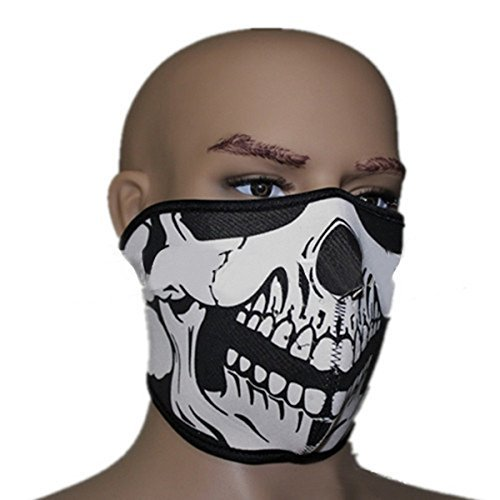 New Arrival 2 In 1 Reversible Windproof Black Tribal Soft Neoprene Half Face Mask Facemask Headwear Motorcycle ATV Biker Cycling Face Shield Guards Vented Velcro Adjustable Sports Mask One Size