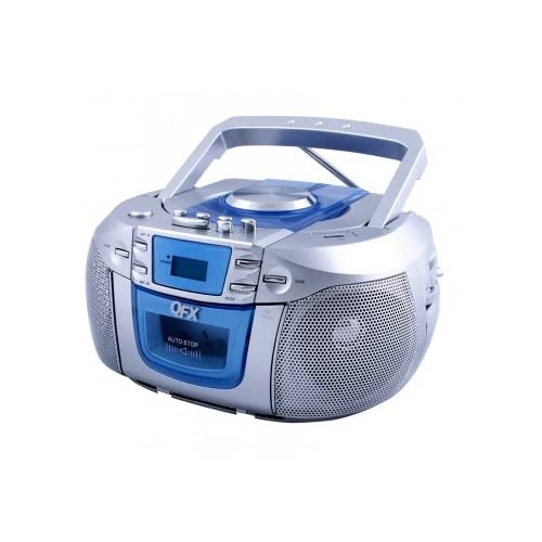 QFX Portable Radio with CD Player Cassette and USB Top Loading CD/MP3 Player-Silver with blue