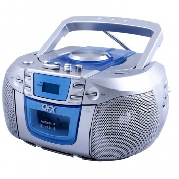 QFX Portable Radio with CD Player Cassette and USB Top Loading CD/MP3 Player-Silver with blue 0
