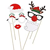 Tinksky 38 Pieces Christmas Photo Booth Props Kit for Party Supplies, Featuring Glasses Moustache Red Lips Deer Horn Santa Hat