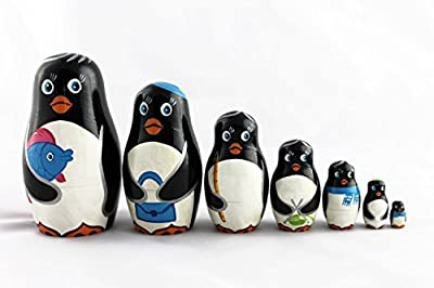 Matryoshka Russian Nesting Doll Babushka Beautiful Family Penguins Set 7 Pieces Pcs Hand Painted Handmade Souvenir Gift Handicraft