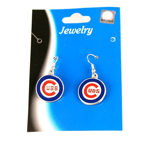 Logo Dangle Earrings - Chicago Cubs (Silver Tone)