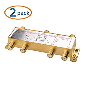 Cable Matters Cable Matters 2-Pack, Gold Plated 6-Way splitter 2.4 Ghz Coaxial Splitter