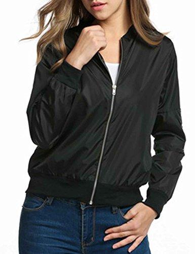 HOTOUCH Ladies Bomber Jacket Vintage Zip Up Biker Slim Short Outerwear Black M