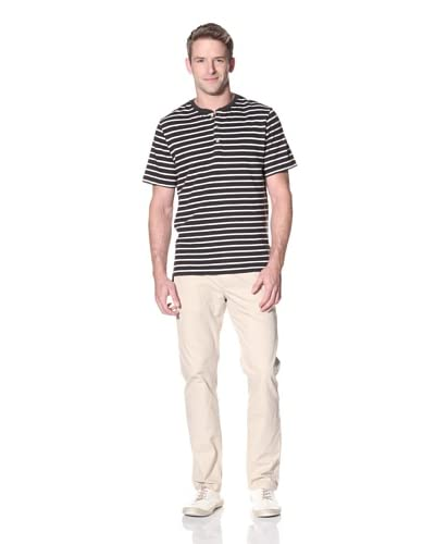 Surfside Supply Co. Men's Short Sleeve Striped Henley In Seany