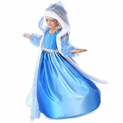 Frozn Ice Princess Snow Queen Elsa Cosplay Dress Girl's Costume Long Dress With Cappa