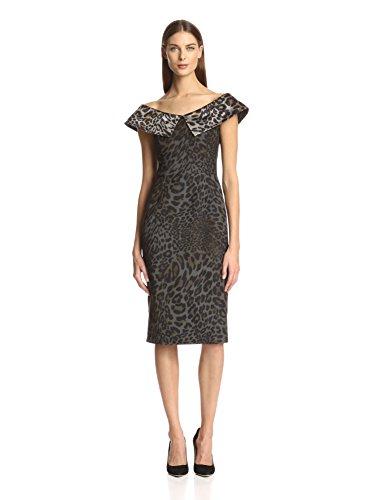 Christian Siriano Women's Jacquard Portrait Collar Dress