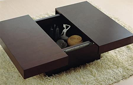 Nile Square Motion Storage Coffee Table in Wenge