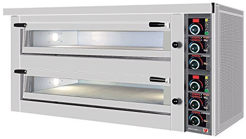 North Pro Gas FPD 92 Commercial Electric Twin Deck Pizza Oven with Fire Resistant Plate - 4+4 pizza Ø360mm (400V-AC-3N-50Hz) (Made in Greece)