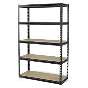 Gorilla Rack GRZ6-4824-5IMP 5-Shelf 48-by-24-by-72-Inch Shelving Unit, Black