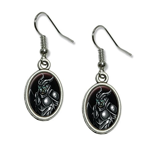Knight Armor - Medieval Warrior Dragon Slayer Fantasy Novelty Dangling Drop Oval Charm Earrings