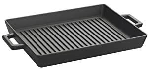 Lava Enameled Cast-Iron 10 x 12 inch Grill Pan, Slate Black by Lava Cookware
