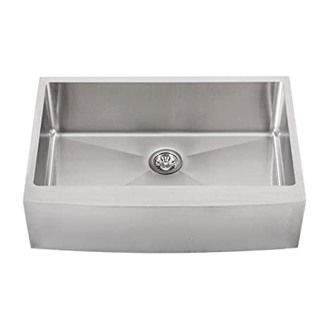 "Phoenix PH-4453 Tight Radius 33"" Apron Farmhouse Single-Bowl Curved Front 16-Gauge Stainless Steel Kitchen Sink"