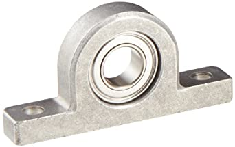 Spyraflo PB1-63800HZZ Miniature Ball Bearing Pillow Block, 2 Bolt Holes, 10 mm Bore Diameter, Precision, Aluminum