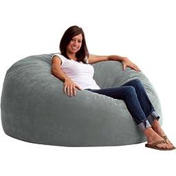 King 5\' Fuf Comfort Suede Bean Bag Chair, Multiple Colors Steel Grey