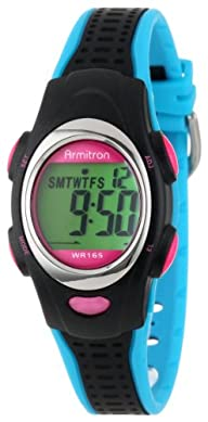 Armitron Sport Unisex 456967BKBL Chronograph Black and Turquoise Resin Strap Watch