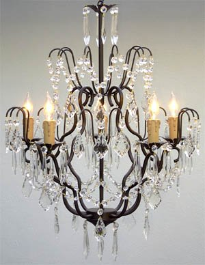 "Wrought Iron Crystal Chandelier Chandeliers Lighting H27"" x W21"