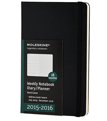 Moleskine 2015-2016 Weekly Notebook, 18M, Large, Black, Hard Cover (5 x 8.25)