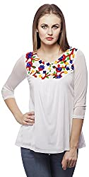 Peptrends Women's Regular Fit Top (TO15085WH_L, White, L)