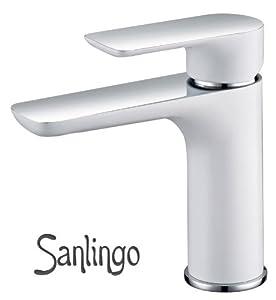 chrome blanc design salle de bain lavabo lever unique robinet mitigeur sanlingo. Black Bedroom Furniture Sets. Home Design Ideas